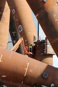 Arbeiten am Fundament für den Offshore Windpark